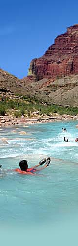 The Little Colorado River, as it enters the Grand Canyon, provides a change of pace for a gay rafting group